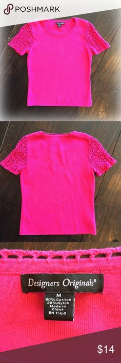 Designers Originals Pink Sweater Adorable bright pink sweater from Designers Originals. Nice crocheted sleeves and around the neck! Perfect for spring! Designers Originals Sweaters Crew & Scoop Necks