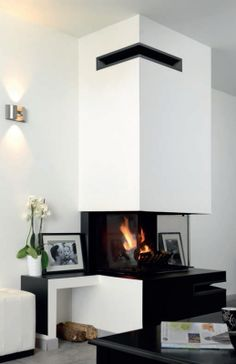 The stunning corner vent for inset fire installations Fireplace Inserts, Air Vent, Wood Burning, Soho, Corner, Black And White, Architecture, Products, Home Decor