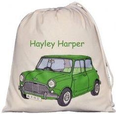 Personalised Mini Large Drawstring Bag - Green