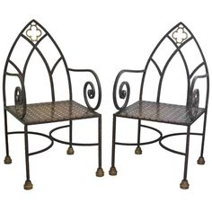 Gothic Revival Iron and Brass Chairs | From a unique collection of antique and modern armchairs at https://www.1stdibs.com/furniture/seating/armchairs/