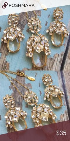 Sparkly earrings from Ann Taylor Stunning sparkly statement earrings from Ann Taylor-  beautiful faceted crystals and gold findings-  Only worn a few times, in perfect condition-   I also have the pendant if you are interested which is pictured in second picture,  but have decided to hang on to it for now-  message me if you are interested! Ann Taylor Jewelry Earrings