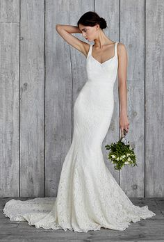 """Brides: Nicole Miller - Fall 2015. Style IN10000, """"Janey"""" sleeveless corded lace mermaid wedding dress with a V-neckline, Nicole Miller"""