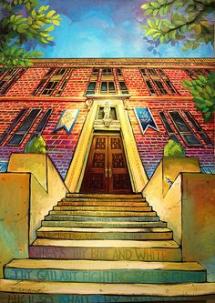 """Star of Our Youthful Years"" Jesuit A/P - Terrance Osborne Art - With the Alma Mater written on the steps and a blue jay gazing at the Blessed Mother, ""Star of Our Youthful Years"" was made to honor the true Jesuit."