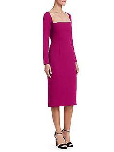 Lela Rose Open-neck Long-sleeve Fitted Sheath Cocktail Dress In Magenta Spring Dresses, Short Dresses, Dresses For Work, Lace Sheath Dress, Lela Rose, Crepe Dress, Collar Dress, Straight Leg Pants, Dress Skirt