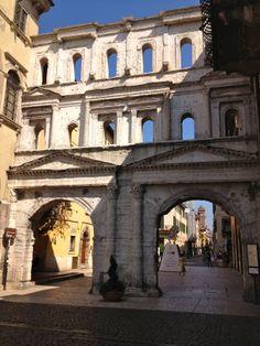 Ancient Roman Porta Iovia in Verona, nowadays Porta Borsari. Verona, Italy