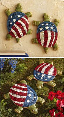 Set Of 2 Patriotic Liberty Turtle Garden Stones