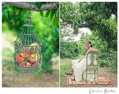 peaches, peach orchard, trees, birdcage, bride, wedding, wedding photography, christina heaston photography, photography