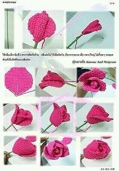 Small Stem Rose Crochet pattern by Natagor Finlayson Crochet Flower Tutorial, Crochet Flower Patterns, Flower Applique, Crochet Chart, Crochet Motif, Crochet Stitches, Crochet Leaves, Knitted Flowers, Crochet Roses