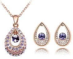 Swarovski Elements – Parure de bijoux 3 pièces – pendentif et boucles d'oreilles larme de princesse en cristal – chaîne 47cm – CN9038ZZI | Your #1 Source for Jewelry and Accessories