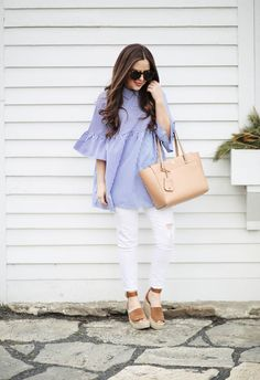spring stripes. - dress cori lynn. Blue striped bell sleeves blouse+white distressed jeans+brown espadrille-wedges+camel tote bag+sunglasses. Summer Casual Outfit 2017