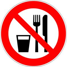 Prohibition Signs and Symbols: Do Not Eat or Drink Sign