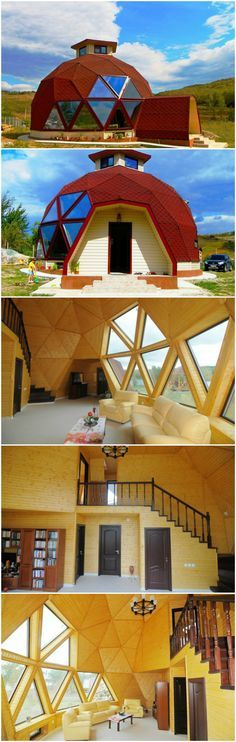 Transform a geodesic dome into a cozy home, restaurant or concert hall - dome house Casa Octagonal, Geodesic Dome Homes, Dome House, Unusual Homes, Earth Homes, Round House, Tiny House Living, Interior Architecture, Bungalow