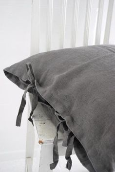 inspiring grey linen pillow cases with ties