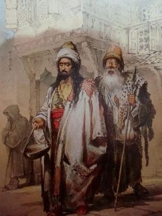 Two dervishes. Istanbul, ca. 1850. By Amadeo Preziosi (1816 - 1882).