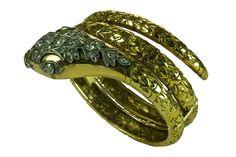 Bárcena - Pulsera con forma de serpiente s.XIX, victoriana, realizada en oro y plata con diamantes .