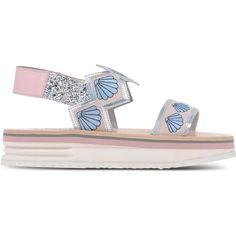 Markus Lupfer Sandals ($260) ❤ liked on Polyvore featuring shoes, sandals, skin color, glitter sandals, markus lupfer shoes, leather footwear, elastic shoes and flatform sandals