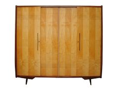 Exquisite 1950's Italian double wardrobe. Lacquered afromosia unit with sycamore inlaid doors