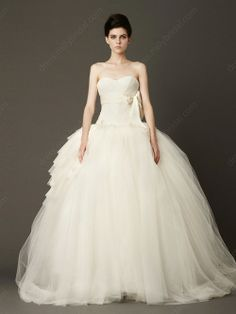 Ball Gown Sweetheart Tulle Sweep Train Ruffles Wedding Dress