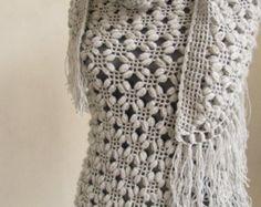 Gray shawl- Silver Glitter GREY Shawl- Crochet shawl-