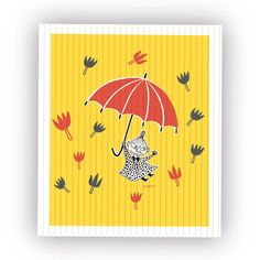 Bright yellow dishcloth featuring the adventurous Little My with her red umbrella. Illustration by Tove Jansson, size 18x18cm.