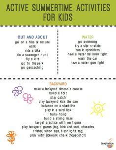 FREE PRINTABLE -- Active Summer Activities Kids