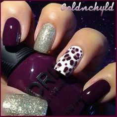 Very cute Fall burgundy, gold & co-ordinating leopard print nails art...x
