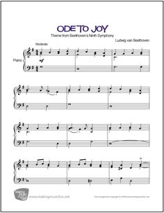 Ode to Joy (Beethoven)   Sheet Music for Intermediate Piano