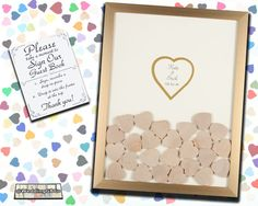 """Wooden Drop In Hearts Guest Book Alternative, Medium (1.75"""") Drop in the Top Wood Hearts - Pick your size and colors, Holds 52-155 Hearts"""