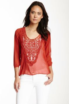 Crochet Knit Hi-Lo Blouse by Olive & Oak on @HauteLook