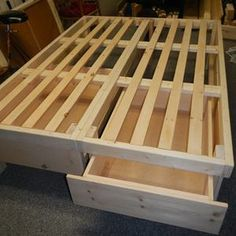 Check out this project on RYOBI Nation - We just moved back to the USA and were using an old borrowed bed. I finally managed to find the time to build us a bed frame and headboard. I started with some plans from Ana White but soon it became something of my own. I designed a queen size bed with 2 huge drawers that come out of end of the bed-frame. The bed-frame is actually in two parts to allow me to move it better in the future, and I just bolted the halves together. Once the frame was ...