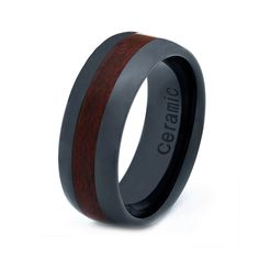 Ceramic Wedding Band Ring 8mm Koa Wood by GiftFlavors  Probably too dark for me but I like the idea.