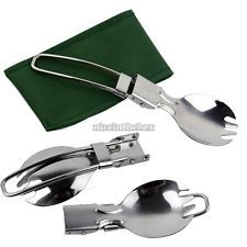 Foldable Spork Fork Spoon Stainless Steel Hiking Camping Cook Picnic Traveller 9