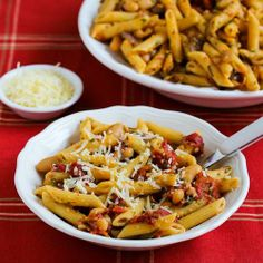 Meatless Penne Pasta with White Beans, Roasted Tomatoes, and Herbs by @Kalyn's Kitchen