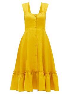 Gioia Bini Camilla Ruffle Trim Linen Dress - Womens - Yellow Multi in 2020 Simple Dresses, Cute Dresses, Casual Dresses, Summer Dresses, Awesome Dresses, Simple Dress Pattern, Dress Patterns, Frock Fashion, Fashion Dresses