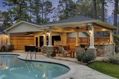 Pool House With Outdoor Kitchen & Fireplace In Cypress - Texas Custom Patios Backyard Design, Outdoor Kitchen Design, Pool House Plans, Patio Design, Backyard Pavilion, Pool Houses, Outdoor Kitchen Patio, Pool House Designs