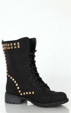 Deb Shops Lace Up #Combat #Boot with Pyramid Stud Trim $30.03