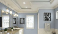 Best Blue Gray Paint Colors (21 stylish dusty blues) | The Flooring Girl Bathroom Paint Colors, Interior Paint Colors, Paint Colors For Home, House Colors, Pottery Barn Paint Colors, Gray Interior, Interior Doors, Modern Interior, Bluish Gray Paint