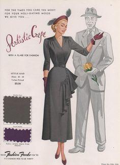 Fashion Frocks for 1950 Fifties Fashion, Retro Fashion, Vintage Fashion, Dress Sewing Patterns, Vintage Sewing Patterns, Historical Clothing, 40s Clothing, 40s Outfits, Vintage Dresses