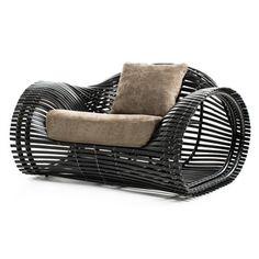 Kenneth Cobonpue Lolah Armchair - Style # CAELO-xx, Modern Armchair - Contemporary Armchair - Leather Armchair - Swivel Armchair | SwitchModern.com