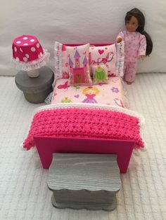 "Bed room for 6 "" or 6.5 inch MINI American Girl, LORI by Our Generation, Blythe #Unbranded #HousesFurniture"
