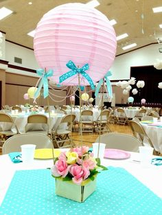 Larcie Bird: Look up! Stake Relief Society Women's Conference {hot air balloon theme}: Baby Shower Centerpieces, Party Centerpieces, Table Decorations, Lantern Centerpieces, Shower Party, Baby Shower Parties, Baby Showers, Bridal Shower, Deco Buffet