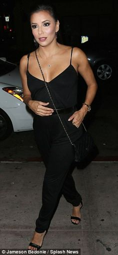 Stunning skin-tone: The Desperate Housewives actress chose the most complementing make-up tones which accentuated her naturally beautiful looks Wrap Jumpsuit, Black Jumpsuit, Eva Longoria Style, Gabrielle Solis, Desperate Housewives, Naturally Beautiful, Dungarees, Skin Tone, Summer Looks