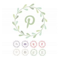 Leaf Garland Social Buttons | The Darling Tree - The cutest social media illustrations for your website you've ever seen. #pinterest