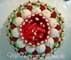 Tarta chuches, verde, rojo, comuniones, cumpleaños