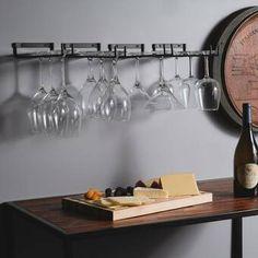 Millwood Pines Alek 42 Bottle Solid Wood Floor Wine Bottle Rack in Brown Hanging Wine Glass Rack, Wine Glass Holder, Hanging Racks, Hanging Bar, Wine Bottle Rack, Bottle Wall, Wine Racks, Kitchen Set Up, Kitchen Decor