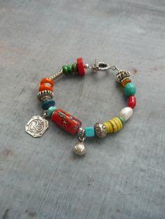 Bold Artisan Bracelet with Lampwork Bead by sage925studio on Etsy, $92.00