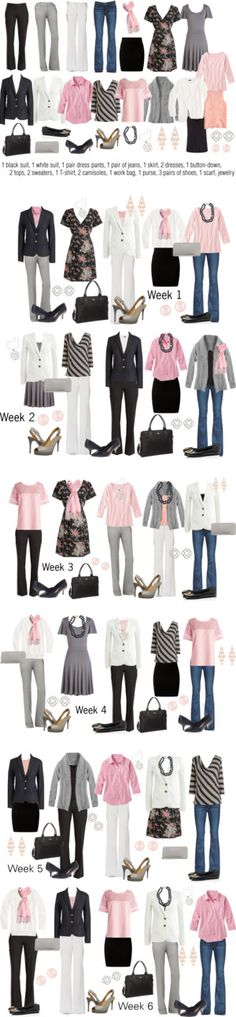 Pink & Gray Work Capsule Wardrobe