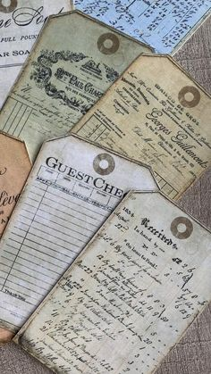 Set of 12 printable ledger tags in a vintage style. Scrapbook Journal, Travel Scrapbook, Scrapbook Paper, Scrapbooking, Vintage Crafts, Vintage Ephemera, Vintage Tags, Vintage Buttons, Vintage Sewing
