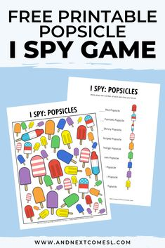 This free popsicle I spy printable game is perfect for kids to do during summer! They'll love searching and counting for the different summer treats. Spy Games For Kids, Cooking Games For Kids, I Spy Games, Learning Games For Kids, Educational Activities For Kids, Printable Activities For Kids, Summer Preschool Themes, Fun Summer Activities, Preschool Activities