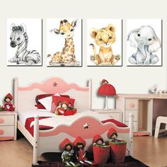 Canvas Picture Walls, Wall Canvas, Canvas Prints, Canvas Art, Art Wall Kids, Wall Art Decor, Safari Room, Elephant Poster, Kids Room Paint